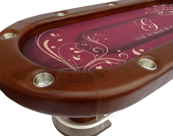 Beautiful Custom Poker Table Design: Leather Upholstery, Custom Stained Veneer Finish