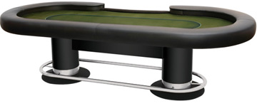 Final table for poker tournaments with raised rail and built-in cameras